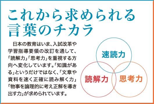 これから求められる言葉の力 日本の教育はいま、入試改革や学習指導要領の改定を通して、「読解力」「思考力」を重視する方向へ変化しています。「知識がある」というだけではなく、「文章や資料を早く正確に読み解く力」「物事を論理的に考え正解を導き出す力」が求められています。授業や教材の変化に対応していくために、子どもたちの基礎能力の向上がさらに大切になってきます。